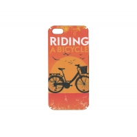 Чехол-накладка CASE Vintage, для Apple iPhone 5/5S, PC, оранжевый, Riding A Bicycle , без упаковки