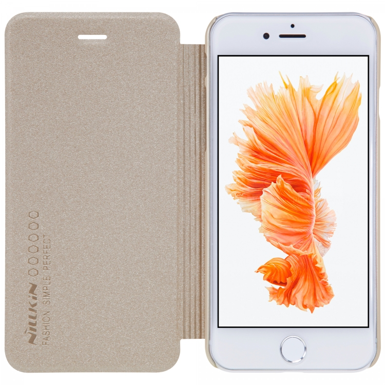 Чехол-книга Nillkin Sparkle, для Apple iPhone 7, цвет золотой